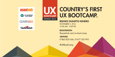 Country's first #UXBootCamp on November 5 at Bishwo Shahitto Kendro [বিশ্বসাহিত্য কেন্দ্র]. DETAIL & REGISTRATION http://www.theuserhub.com/ux-boot-camp/ HELPLINE: 01863 833 456, 01677 353 993