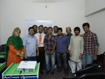 Wahid bin Ahsan and Nilim Ahsan with the participants of the UX Review Workshop.